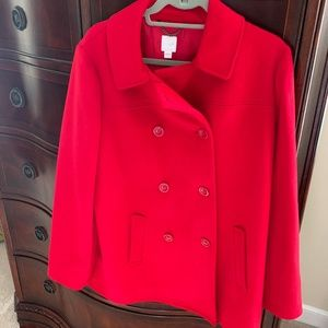 J.Jill Red Wool Peacoat - size L